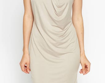 Women's Pleated Cup Sleeves Shift Dress