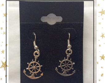 Anchor and rudder earrings