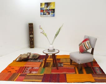 Tislit a one of kind patchwork rug made from old moroccan rugs 100% wool