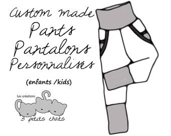 Custom made grow with me pants with pockets / unisex / relax fit / 0-6m / 3-18m / 1-4T