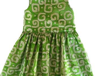 Green and White Geometric Batik Dress