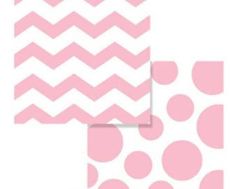 Pastel Pink Chevrons and Dots Printed Lunch Napkins (16 ct)