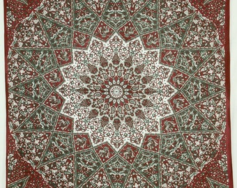 Indian Mandala Tapestry starshape black red orange bohemian gipsy bedcover beachthrow elephants