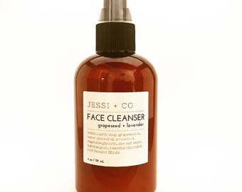 Grapeseed + Lavender Face Cleanser - Oil cleanser, grapeseed oil, avocado oil, sweet almond oil, face wash, all skin types, dry skin