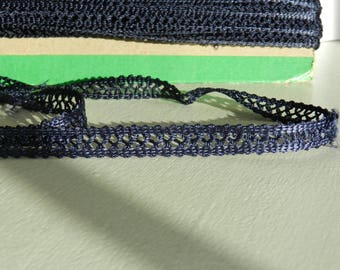 Openwork lace width 1 cm Navy blue color