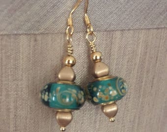 Murano glass earrings with 18k gold plated beads