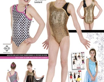 Jalie 3354 - Asymmetrical Gymnastics Leotard with Contrast Strap / 22 Sizes / Child & Adult