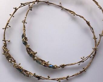 Crystal look retro antique design egypt boho simple gold tiara crown hair headband garland prop