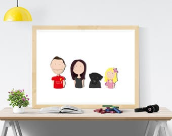 Personalized Family Portrait A3 Print Customized illustration Family Gift Home Gift Mothers Day Gift Large Family Print Family Art