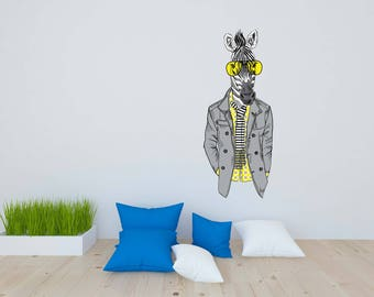 Removable Vinyl Wall Decal Wall Sticker Zebra in Yellow Glasses