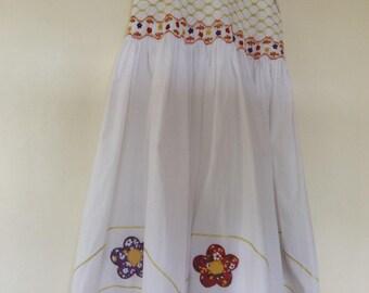White Smocked Sun Dress 6-7 Years (1 dress in stock)