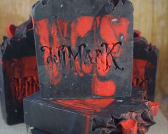 Fetish red and black handmade soap