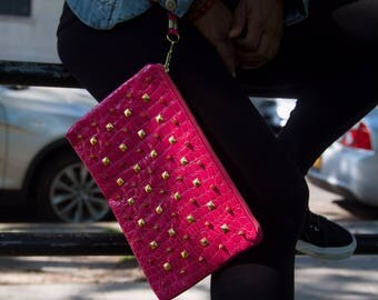 Wristlet Faux Crocodile Hot Pink with Gold Spikes & Studs Metal Zippered Pouch Style Clutch