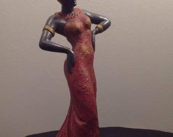 Vintage chalkware blackamoor nubian woman statue