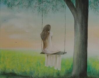 Peace acrylic painting on canvas wall art 40 x 40 cm
