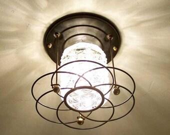 138 Vintage 50s 60s Ceiling Light glass  Fixture Mid-Century retro 1 of 4
