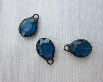Hand Soldered Mediuml Blue Oval Crystals