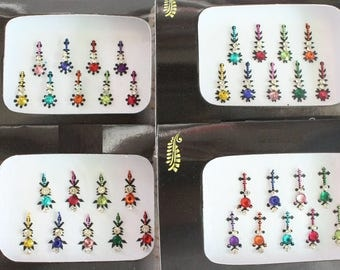 2 Packs Colored Long Face Tattos Bindi Stickers,Bridal Bindis Stickers,Long Bindis,Fashion Bindis,Wedding Bindis,Wholesale Bindi Stickers
