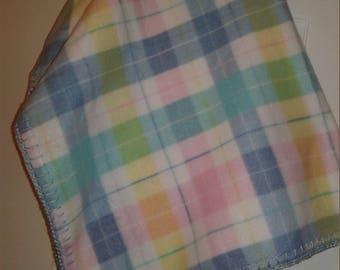 Pastel Plaid Fleece Cradle Size Baby Blanket
