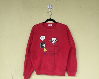 Rare!!Red Pullover Crew Neck Sweatshirt LUCY AND PEANUTS Cartoon Character Snoopy Clothing Size Medium