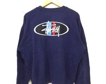 Rare!! STUSSY BIG LOGO Spell Out Made In Usa Stussy Darkblue Crew Neck Sweatshirt Stussy Clothing Size Large