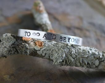 To Infinity and Beyond- Hand Stamped bracelet