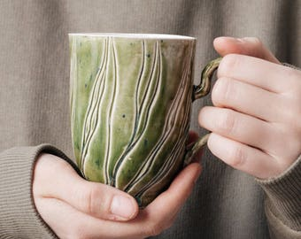 "Handmade porcelain cup ""Green waves""- minimalist design - pastel colors - modern functional ceramics"