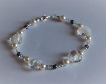 White and purple bead bracelet