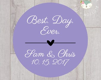 Wedding Stickers, Best Day Ever Stickers, Personalized Wedding Stickers, Favor Stickers, Favor Tags, Thank you Tags, Wedding Favors, S006