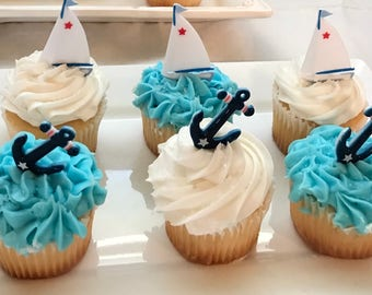 Ahoy sailboat cupcake toppers