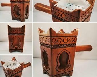 Handmade Wooden Tarimi/Yemeni Mabkhara Incense Burner