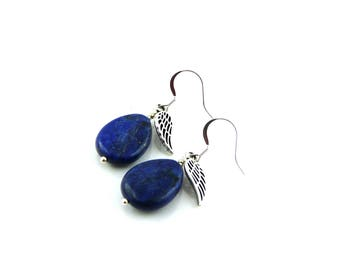 Lapis earrings with Angel Wings