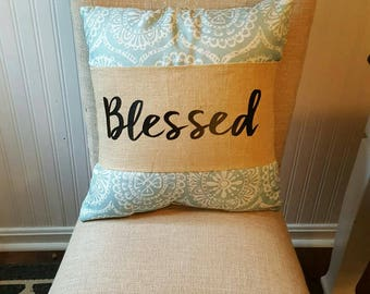 Blessed burlap pillow wrap