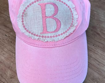 Ladies Raggy Monogram Cap, monogram, baseball cap, monogram hat