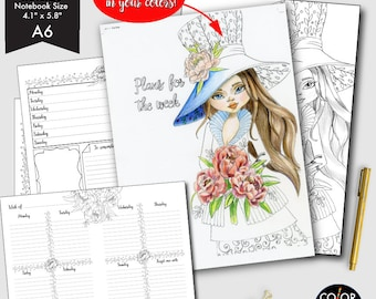 A6 size Weekly Printable, Weekly Plan Printable Planner Insert.  CMP-224.1