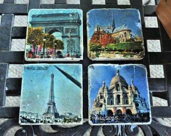 Paris Icons Photo Art tile coasters, set of 4
