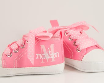 Pink high tops, Baby Girl Shoe, Personalized Baby Shoes, Baby Shoes, Infant Shoes, Infant Girl Shoe, Baby Gifts, Personalized Baby Gift