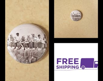 """1"""" Men at Lunch Button Pin or Magnet, FREE SHIPPING & Coupon Codes"""