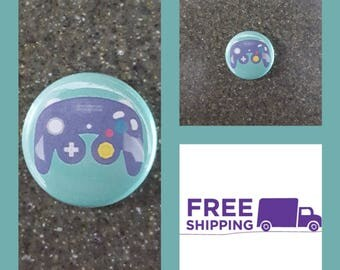 "1"" Nintendo Game Cube Controller Button Pin or Magnet, FREE SHIPPING & Coupon Codes"