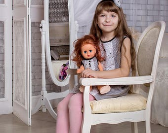 """A set of identical dresses for girls and Dolls """"Jeannette"""""""