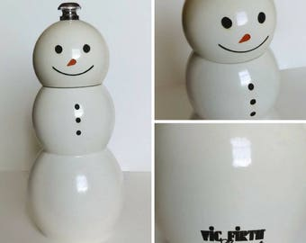 Vic Firth Gourmet Snowman Pepper Grinder, Holiday/Christmas Kitchen, Pepper Grinder, Snowman Kitchen Decor, Wood Pepper Grinder