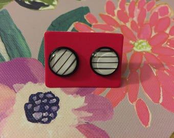 Striped Earrings (black + white) -  Glass Cabochon Earrings (12mm)