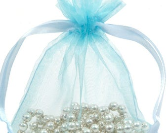 100 Sky Blue Organza Bags - 4x6 Inch Sheer Fabric Wedding Favor Bags With Drawstring - Sheer Jewelry Bags - Ships Within 24 Hours