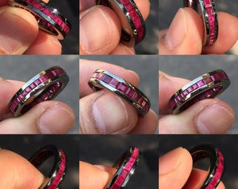 Silver ring with Burmese Rubies