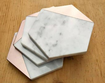 Marble and Rose Gold, Rose Gold Coasters, Marble Coasters, Coasters, Rose Gold Gift, Drink Coasters, Carrara Marble, Coasters for Drinks