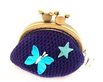 Knit Navy purse wallet