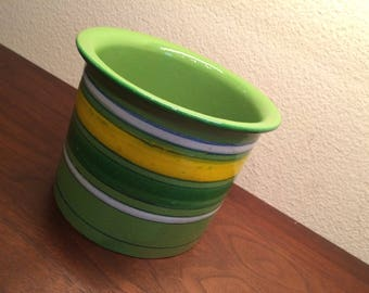 Mid Century Modern Bitossi Lime Green Stripped Planter Pot