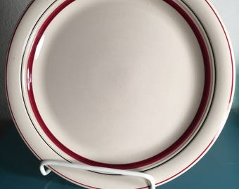 Rare set of 6 vintage Anchor Hocking dinner and salad plates, Burgundy pattern