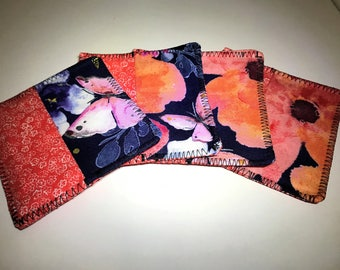 Coral Blue Flower Coasters | Flowers | Square Coasters | Set of Four Coasters | Reversible Fabric Coasters