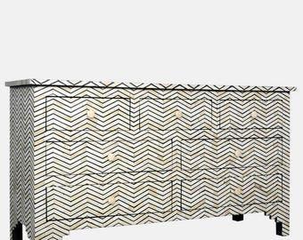 Bone inlay commode 7 drawer zig zag black